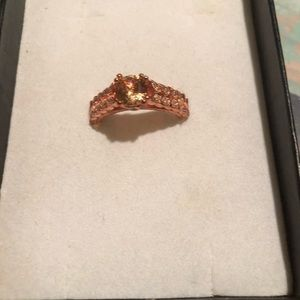 Real new morganite ring in rose gold size 8 ring